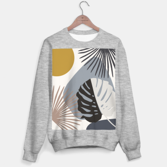 Minimal Yin Yang Monstera Fan Palm Finesse #2 #tropical #decor #art Sweatshirt regulär Bild der Miniatur