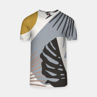 Minimal Yin Yang Monstera Fan Palm Finesse #2 #tropical #decor #art T-Shirt Bild der Miniatur