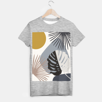 Minimal Yin Yang Monstera Fan Palm Finesse #2 #tropical #decor #art T-Shirt regulär Bild der Miniatur