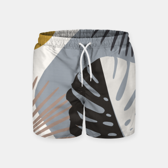 Minimal Yin Yang Monstera Fan Palm Finesse #2 #tropical #decor #art Badeshorts obraz miniatury
