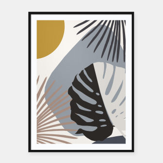 Thumbnail image of Minimal Yin Yang Monstera Fan Palm Finesse #2 #tropical #decor #art Plakat mit rahmen, Live Heroes