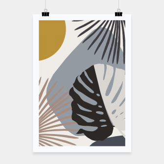 Minimal Yin Yang Monstera Fan Palm Finesse #2 #tropical #decor #art Plakat obraz miniatury