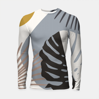Minimal Yin Yang Monstera Fan Palm Finesse #2 #tropical #decor #art Longsleeve rashguard obraz miniatury