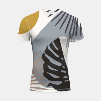 Minimal Yin Yang Monstera Fan Palm Finesse #2 #tropical #decor #art Shortsleeve rashguard thumbnail image