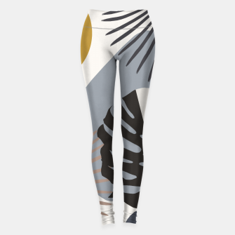 Minimal Yin Yang Monstera Fan Palm Finesse #2 #tropical #decor #art Leggings Bild der Miniatur