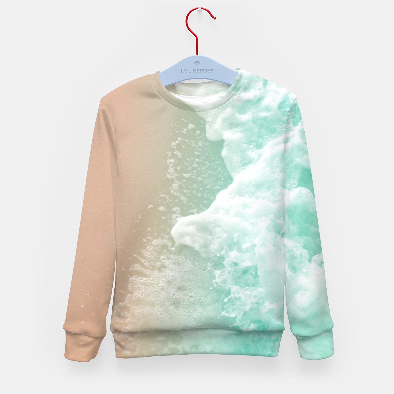 Image of Soft Emerald Beige Ocean Beauty #1 #wall #decor #art Kindersweatshirt - Live Heroes