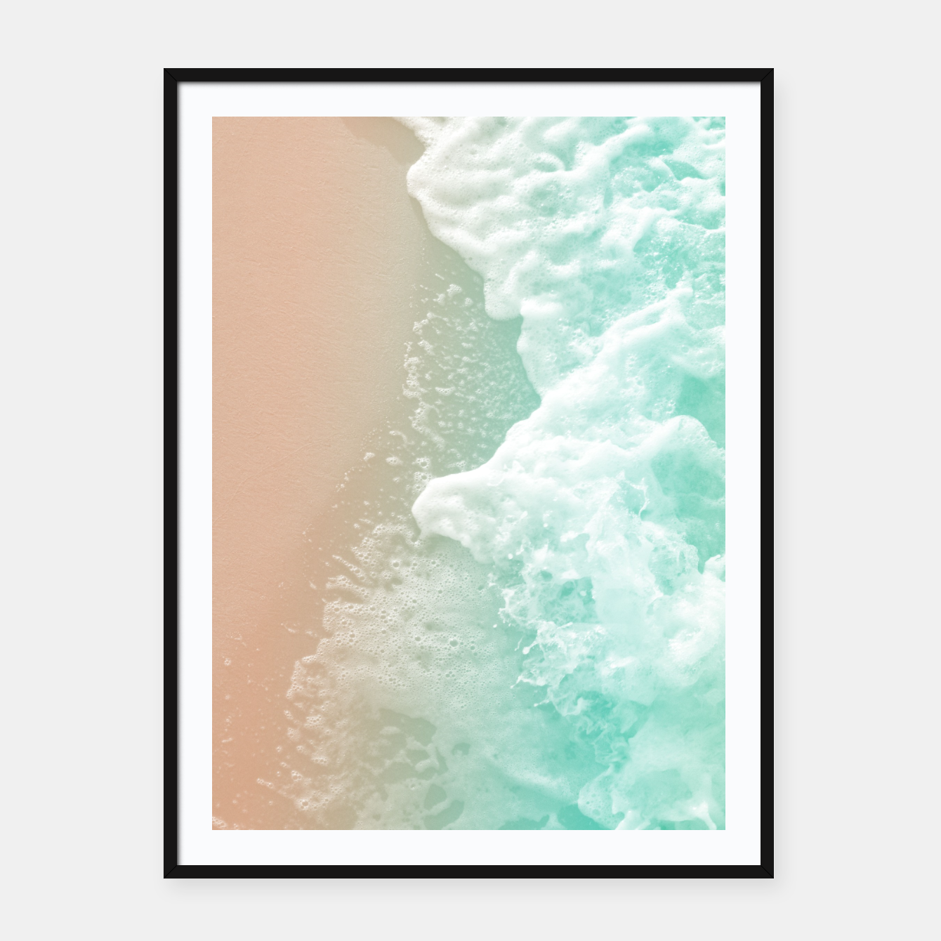 Zdjęcie Soft Emerald Beige Ocean Beauty #1 #wall #decor #art Plakat mit rahmen - Live Heroes