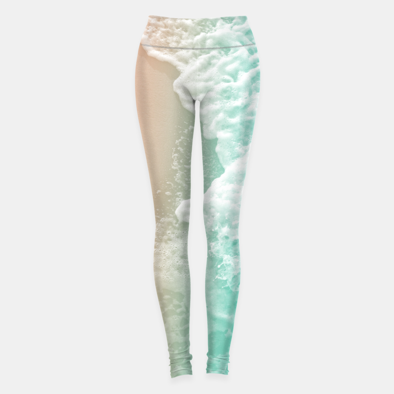 Foto Soft Emerald Beige Ocean Beauty #1 #wall #decor #art Leggings - Live Heroes