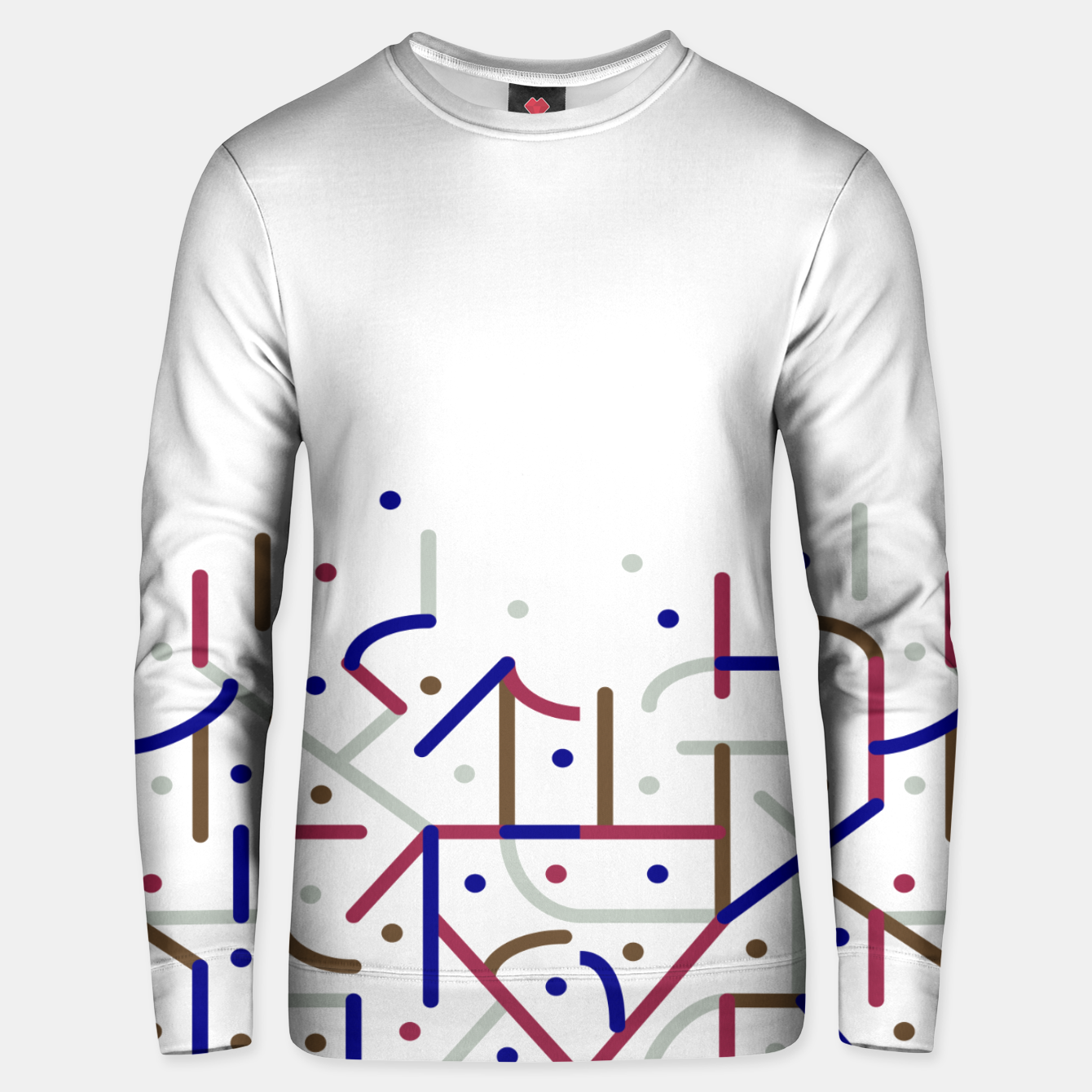 Image of Lines and Dots Motif Geometric Print Unisex sweater - Live Heroes
