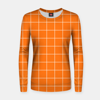 Thumbnail image of Vibrant grid on orange Women sweater, Live Heroes