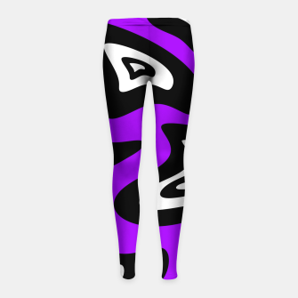 Miniatur Abstract pattern - purple, black and white. Girl's leggings, Live Heroes