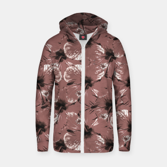 Thumbnail image of Hibiscus Flowers Collage Pattern Design Zip up hoodie, Live Heroes
