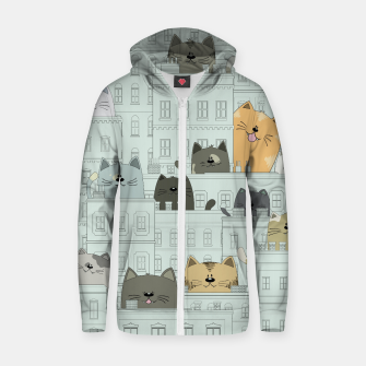 Miniatur Cats and the City Zip up hoodie, Live Heroes