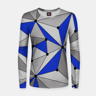 Thumbnail image of Abstract geometric pattern - blue and gray. Women sweater, Live Heroes