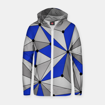 Thumbnail image of Abstract geometric pattern - blue and gray. Zip up hoodie, Live Heroes
