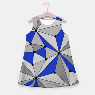 Thumbnail image of Abstract geometric pattern - blue and gray. Girl's summer dress, Live Heroes