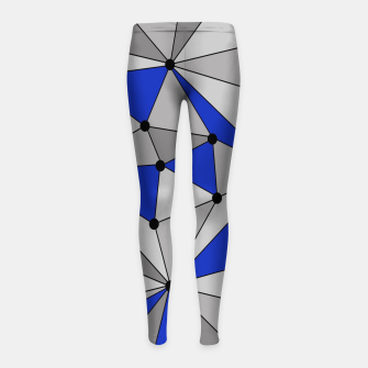 Thumbnail image of Abstract geometric pattern - blue and gray. Girl's leggings, Live Heroes