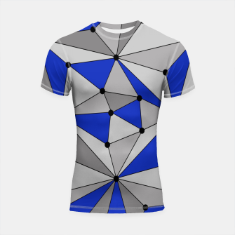 Thumbnail image of Abstract geometric pattern - blue and gray. Shortsleeve rashguard, Live Heroes