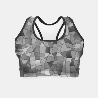 Miniatur Geometric Shapes Fragments Pattern 2 bw Crop Top, Live Heroes
