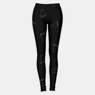 Miniatur Neon Style Black and White Footprints Motif Pattern Leggings, Live Heroes