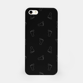 Miniatur Neon Style Black and White Footprints Motif Pattern iPhone Case, Live Heroes