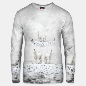 Thumbnail image of Howling Wolves in a Winter landscape Unisex sweatshirt, Live Heroes