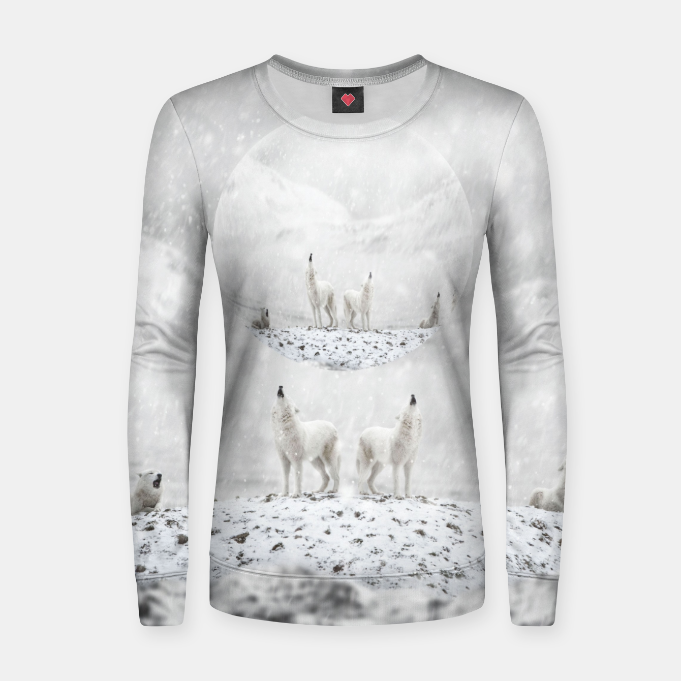 Image of Howling Wolves in a Winter landscape Frauen sweatshirt - Live Heroes