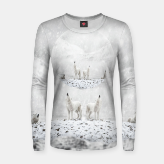 Thumbnail image of Howling Wolves in a Winter landscape Frauen sweatshirt, Live Heroes