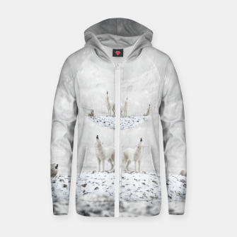 Thumbnail image of Howling Wolves in a Winter landscape Reißverschluss kapuzenpullover, Live Heroes