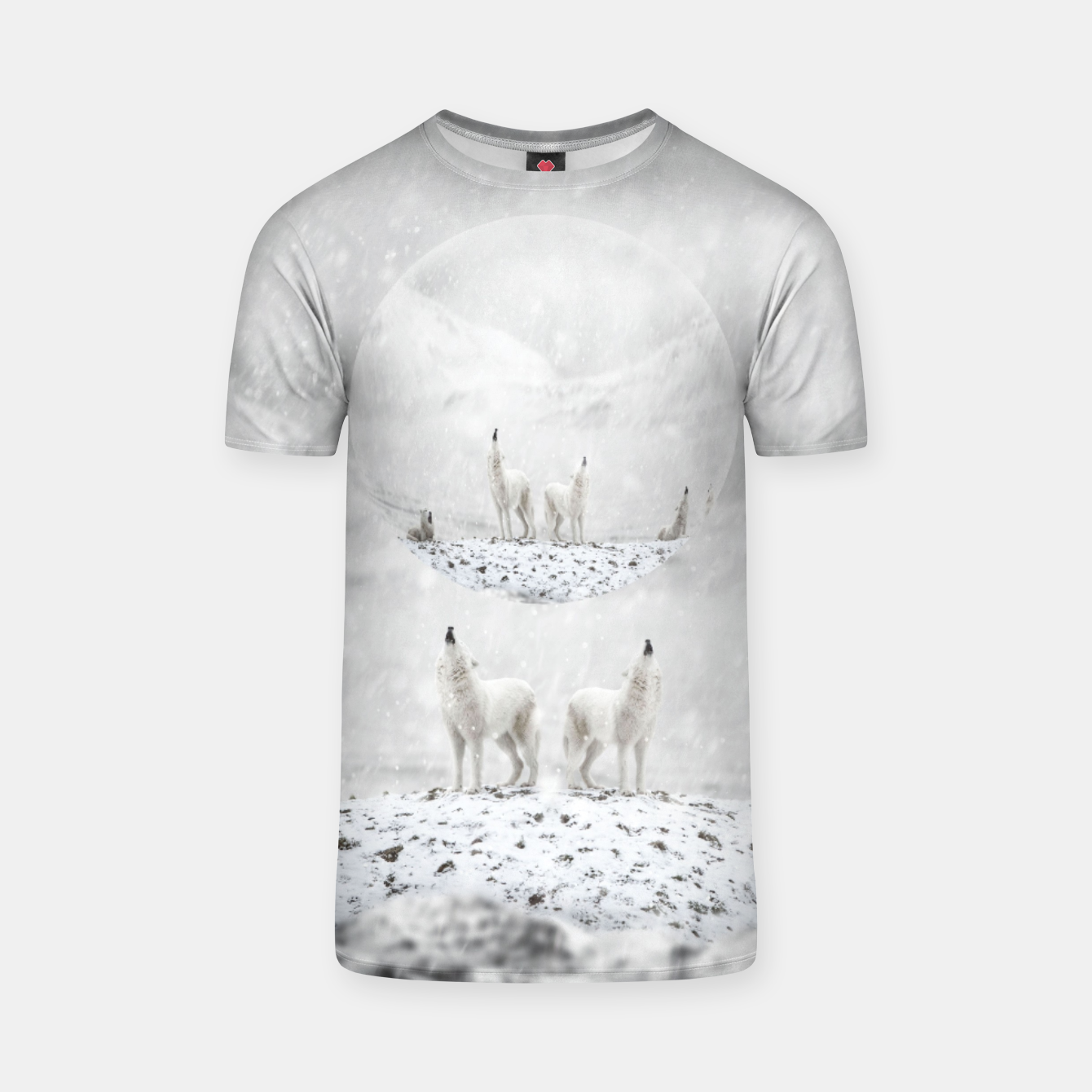 Image of Howling Wolves in a Winter landscape T-Shirt - Live Heroes