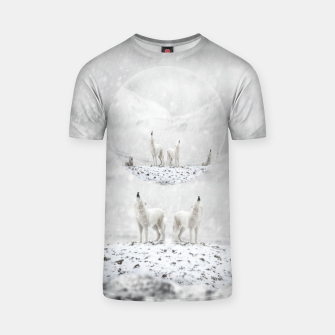 Thumbnail image of Howling Wolves in a Winter landscape T-Shirt, Live Heroes