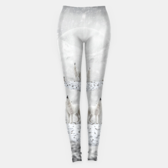 Howling Wolves in a Winter landscape Leggings thumbnail image