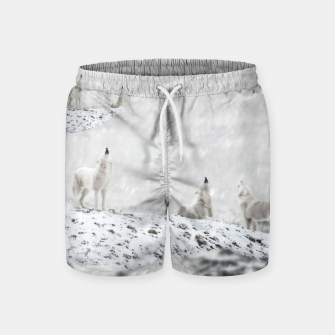 Miniatur Howling Wolves in a Winter landscape Badeshorts, Live Heroes