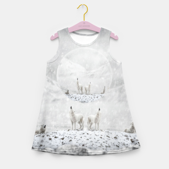 Miniatur Howling Wolves in a Winter landscape Mädchen-Sommerkleid, Live Heroes