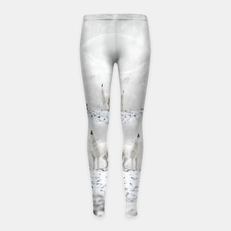 Miniatur Howling Wolves in a Winter landscape Kinder-Leggins, Live Heroes