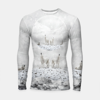 Thumbnail image of Howling Wolves in a Winter landscape Longsleeve rashguard, Live Heroes