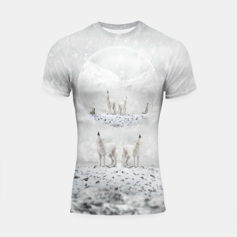 Thumbnail image of Howling Wolves in a Winter landscape Shortsleeve rashguard, Live Heroes