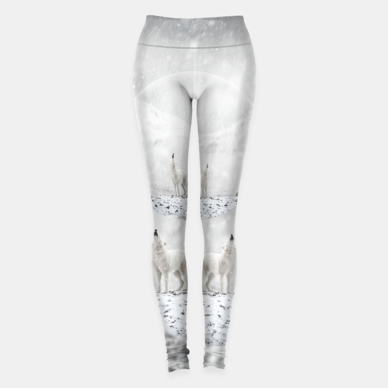 Image of Howling Wolves in a Winter landscape Leggings - Live Heroes