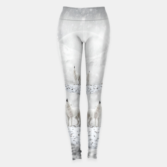 Miniatur Howling Wolves in a Winter landscape Leggings, Live Heroes