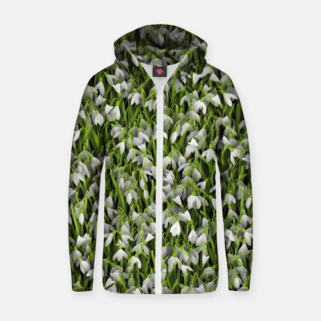 Image of Snowdrops Zip up hoodie - Live Heroes