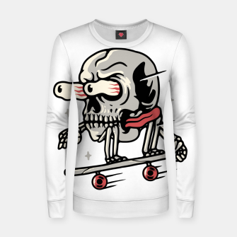 Thumbnail image of Skull Skateboarding Women sweater, Live Heroes