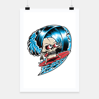 Miniatur Skull Surfing Poster, Live Heroes