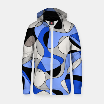Thumbnail image of Abstract pattern - blue and white. Zip up hoodie, Live Heroes