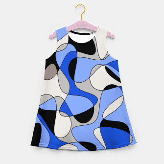 Miniatur Abstract pattern - blue and white. Girl's summer dress, Live Heroes