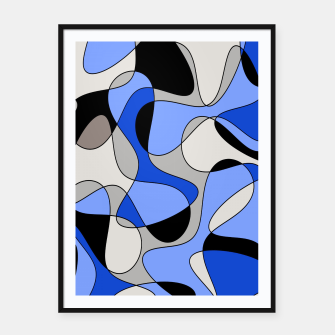 Miniatur Abstract pattern - blue and white. Framed poster, Live Heroes