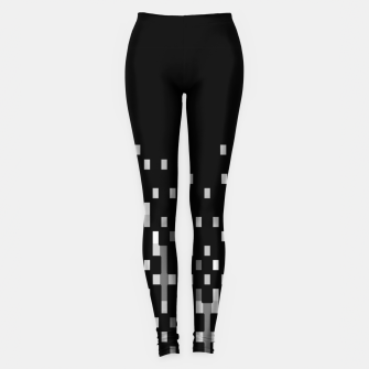 Black and White Matrix Patterned Design Leggings obraz miniatury