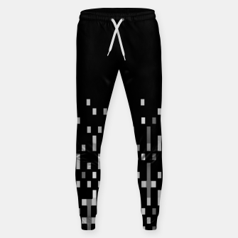 Black and White Matrix Patterned Design Sweatpants obraz miniatury