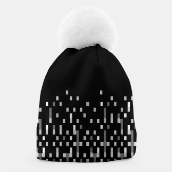 Black and White Matrix Patterned Design Beanie obraz miniatury