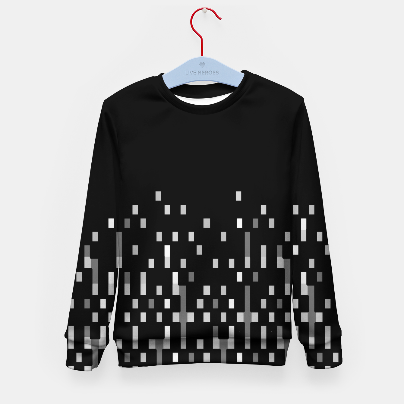Zdjęcie Black and White Matrix Patterned Design Kid's sweater - Live Heroes