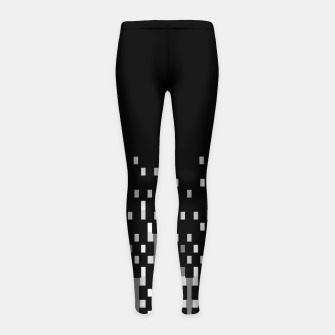 Black and White Matrix Patterned Design Girl's leggings obraz miniatury